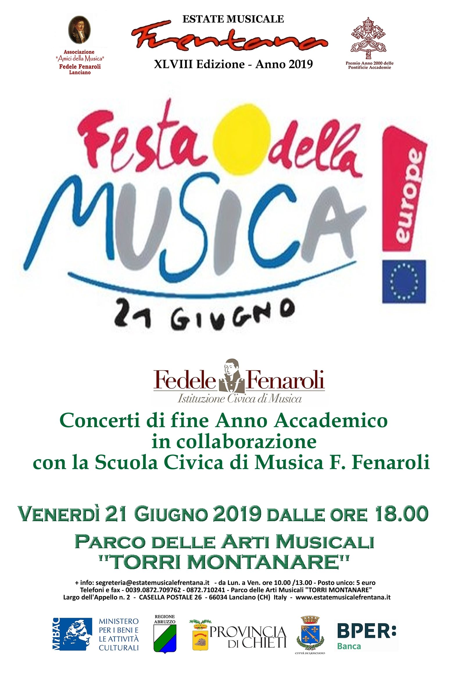 Calendario Ecolan Lanciano 2020.Estate Musicale Frentana