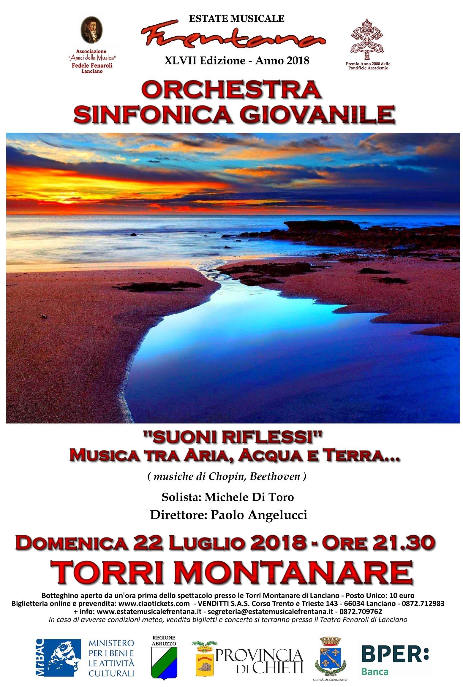 """Orchestra Sinfonica Internazionale Giovanile  – PROGETTO MIBACT 1 - """"SUONI E RIFLESSI"""" Musica tra Aria, Acqua e Terra …"""