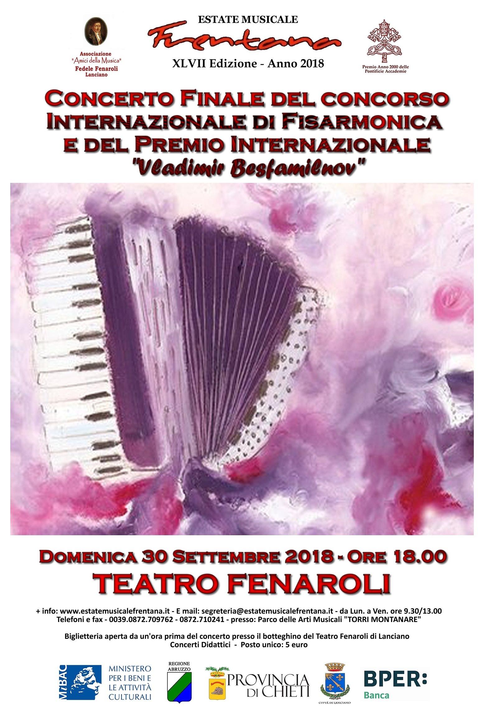 """Concerto Finale del Concorso Internazionale di Fisarmonica Classica e Varietà """"Vladimir Besfamilnov"""""""