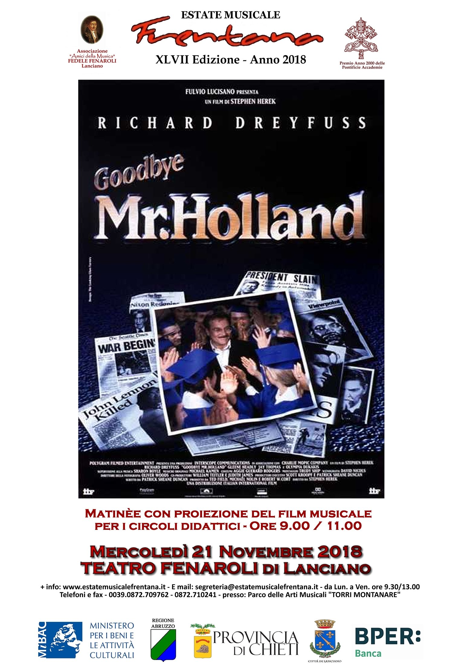 "Proiezione del Film Musicale ""Goodbye Mr. Holland"""