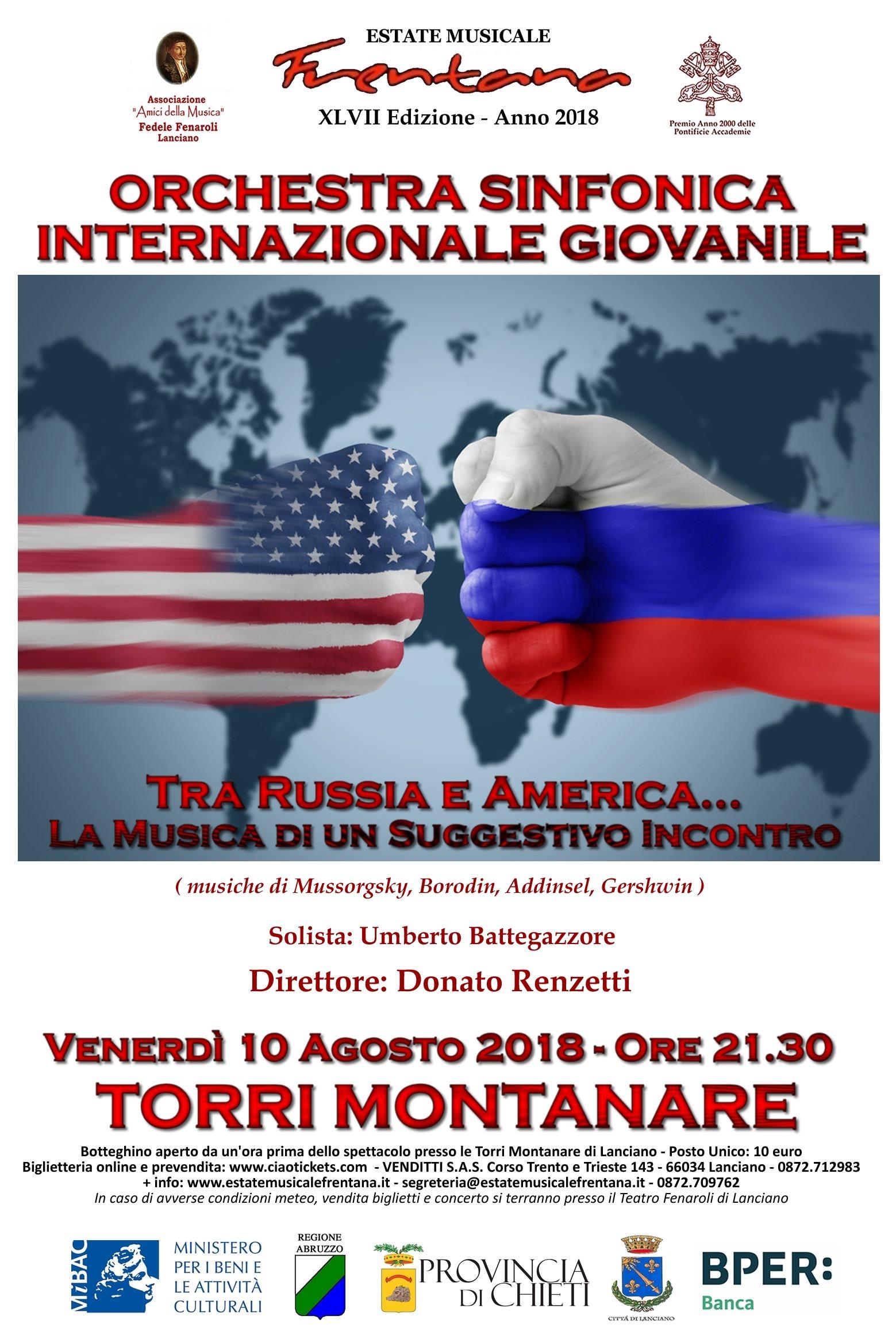 """Orchestra Sinfonica Internazionale  Giovanile """"F. Fenaroli""""  - TRA RUSSIA E AMERICA … LA MUSICA DI UN SUGGESTIVO INCONTRO"""
