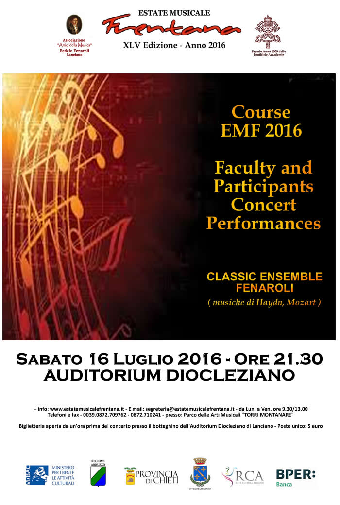 Course EMF 2016 - Faculty and Participants Concert Performances