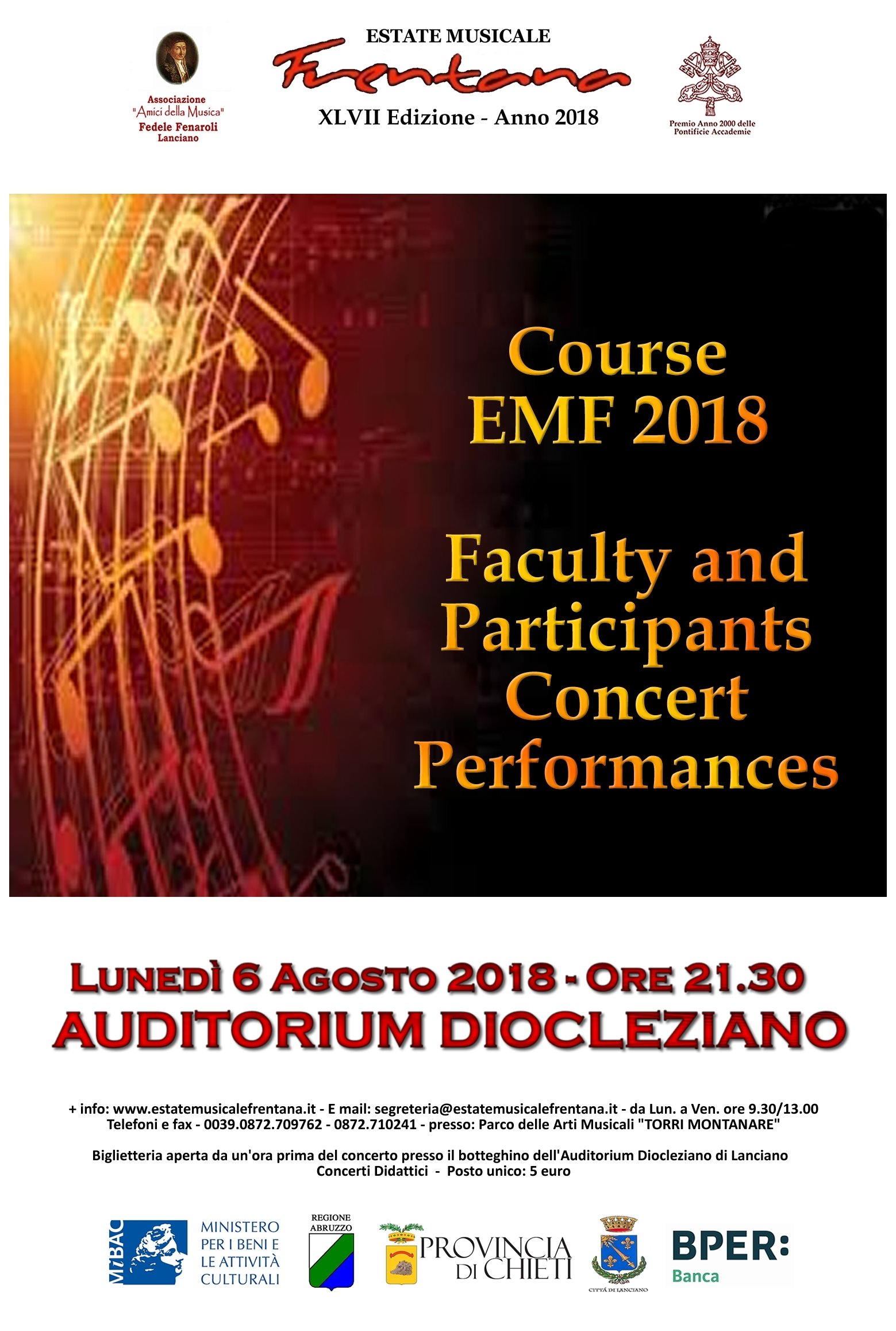 Faculty and Participants Concert Performance - Course EMF 2018