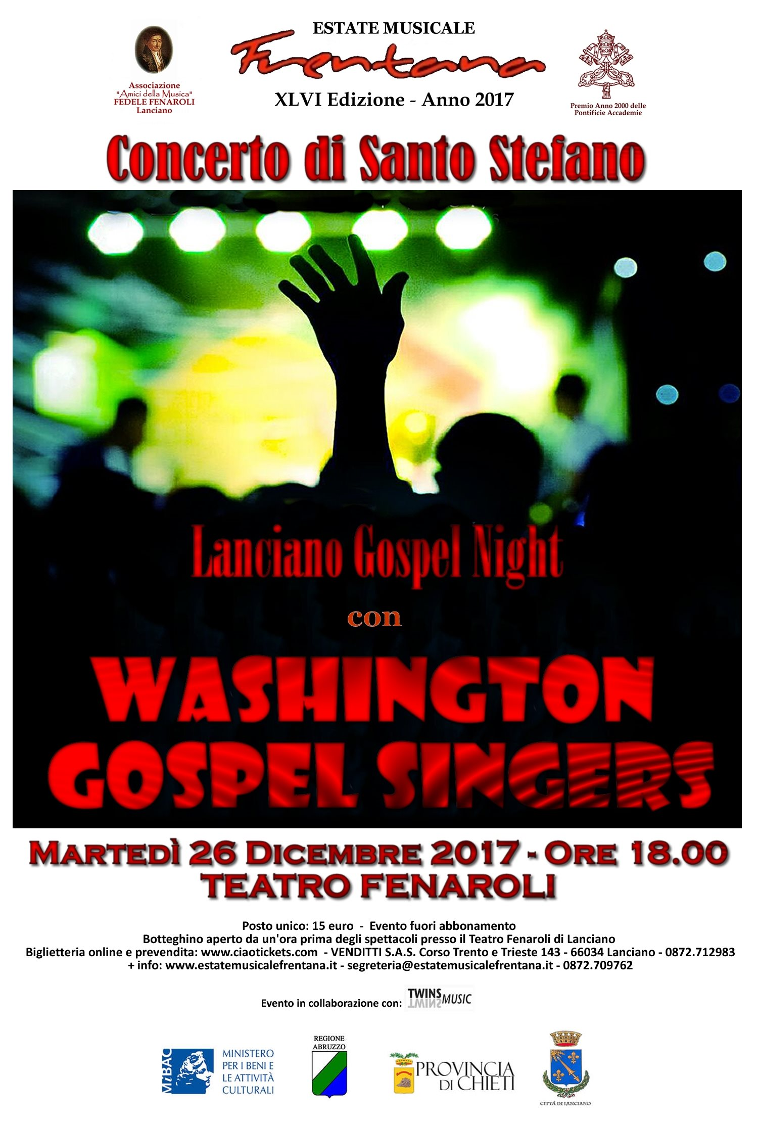 "Concerto di Santo Stefano - LANCIANO GOSPEL NIGHT: "" WASHINGTON GOSPEL SINGERS"""